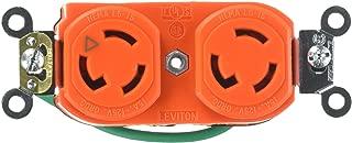 Leviton 4700-IG 15 Amp, 125 Volt, NEMA L5-15R, 2P, 3W, Duplex Locking Receptacle, Industrial Grade, Isolated Ground, Orange
