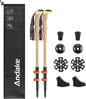 Andake Ultralight Trekking Pole, Aircraft-Grade Carbon Fiber and 7075 Aluminum Anti-Shock Walking Sticks with All Terrain Accessories and Carry Bag, Collapsible for Hiking, Mountaineering, Camping