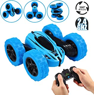 FunsLane RC Stunt Car Toy, Double Sided 360 Degree Rotating Tumbling Rechargeable Car, High Speed 2.4Ghz Remote Control Race Car, 4WD Off Road Vehicle, 3D Deformation Car 1:24, Great Gift for Kids