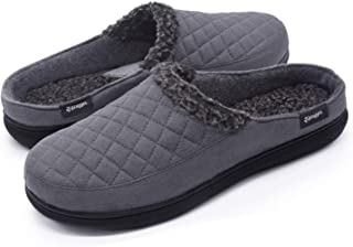 Zigzagger Men's Suede Fabric Memory Foam Slippers Slip On Clog House Shoes Indoor/Outdoor