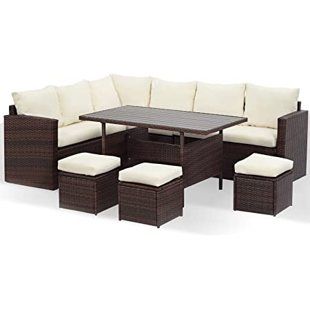 Free Patio Cover pnc1401*parent Ohana 14-Piece Outdoor Patio Furniture Sofa and Dining Set Black Wicker with Beige Cushions