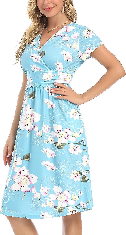 Summer Short Sleeve Dresses for Sundress Women Beach Surprise price Slee New sales Floral