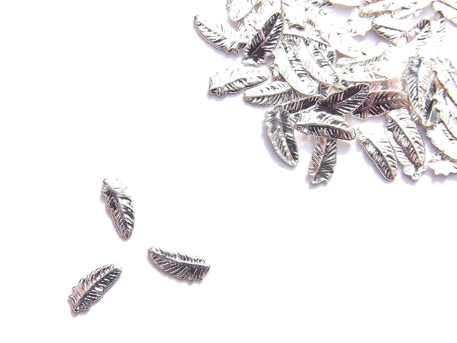 パラダイス冷える特異な【jewel】薄型ネイルパーツ フェザー小 約6mm×2.3mm 10個入りシルバー 手芸 素材 アートパーツ デコ素材