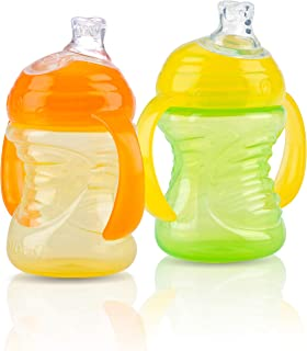 Nuby 2-Pack Two-Handle No-Spill Super Spout Grip N' Sip Cups, 8 Ounce (Orange & Green)