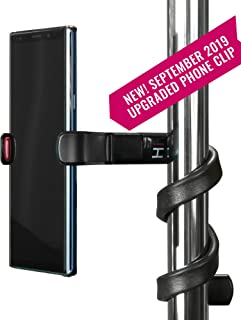 Hovergrip Portable Flexible Cell Phone Holder Stand for Car, Bed, Kitchen, Desk, Stroller, Grocery Shopping Cart, Mic, Video - Use With or Without Included Clamp - Includes LED Flashlight