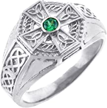 Men's Sterling Silver Endless Knot Band Green CZ Celtic Cross Ring