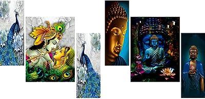 SAF Religious Combo Set 1. Radha Krishna Blue Peackoke Beautiful Set of 3 12 X 18 (Inch) & 2. Lord Buddha Double Multi Look Luxurious Set Of 3 Painting 12 X 18 (Inch)
