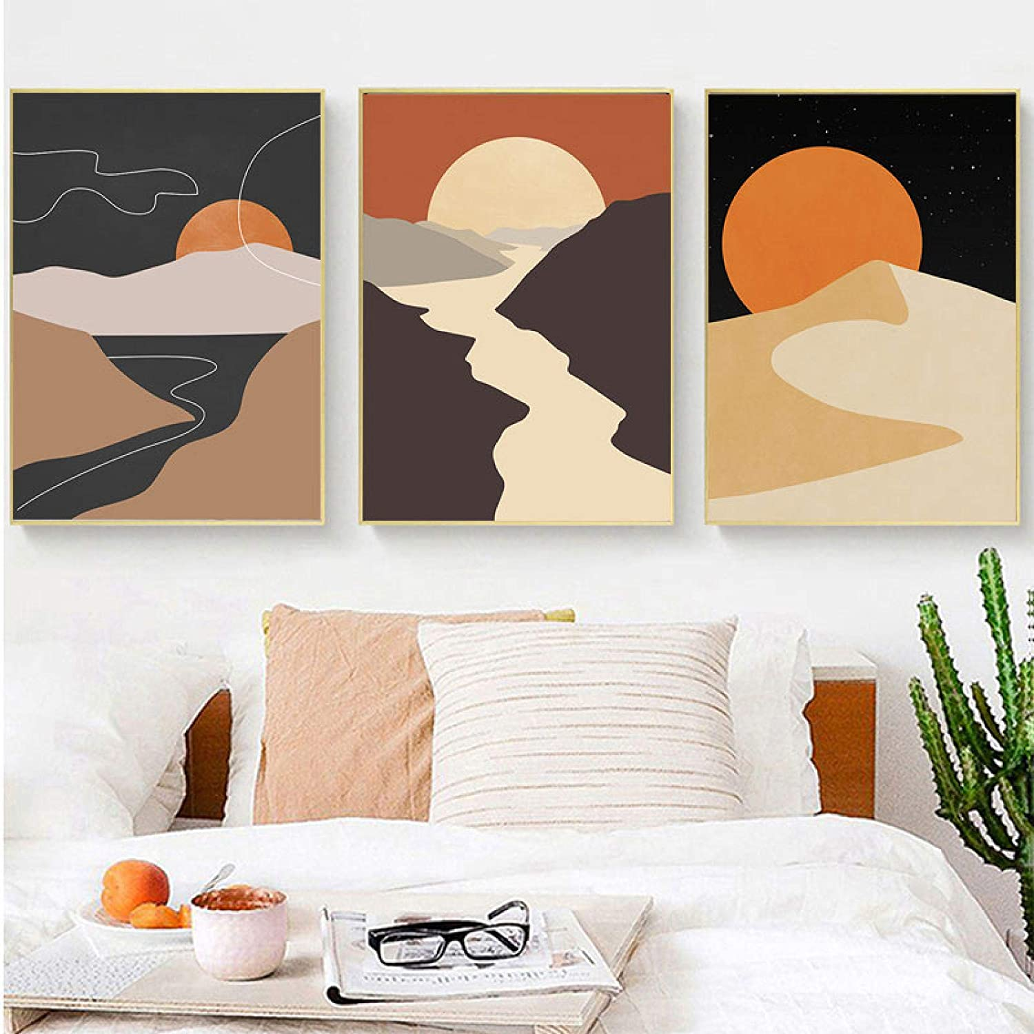Cheap SALE Start konkneleuh Canvas Painting Abstract Easy-to-use Nordic Lines Moon Modern Sun