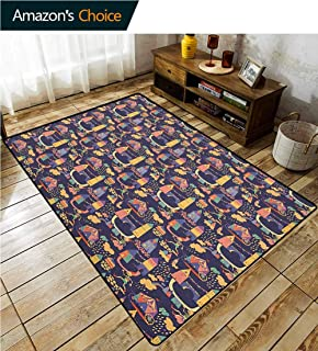 YucouHome Cartoon Southwest Area Rug for Living Room, Carnival Pattern with Circus Carts Doodle Style Castles and Houses Illustration, Fashionable High Class Living Dinning Room(2'x 6') Multicolor