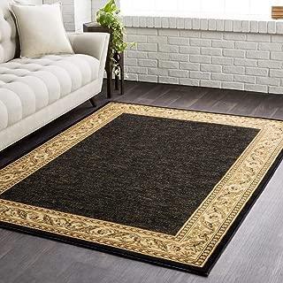 Transitional Area Rug. Black, Khaki 5'3