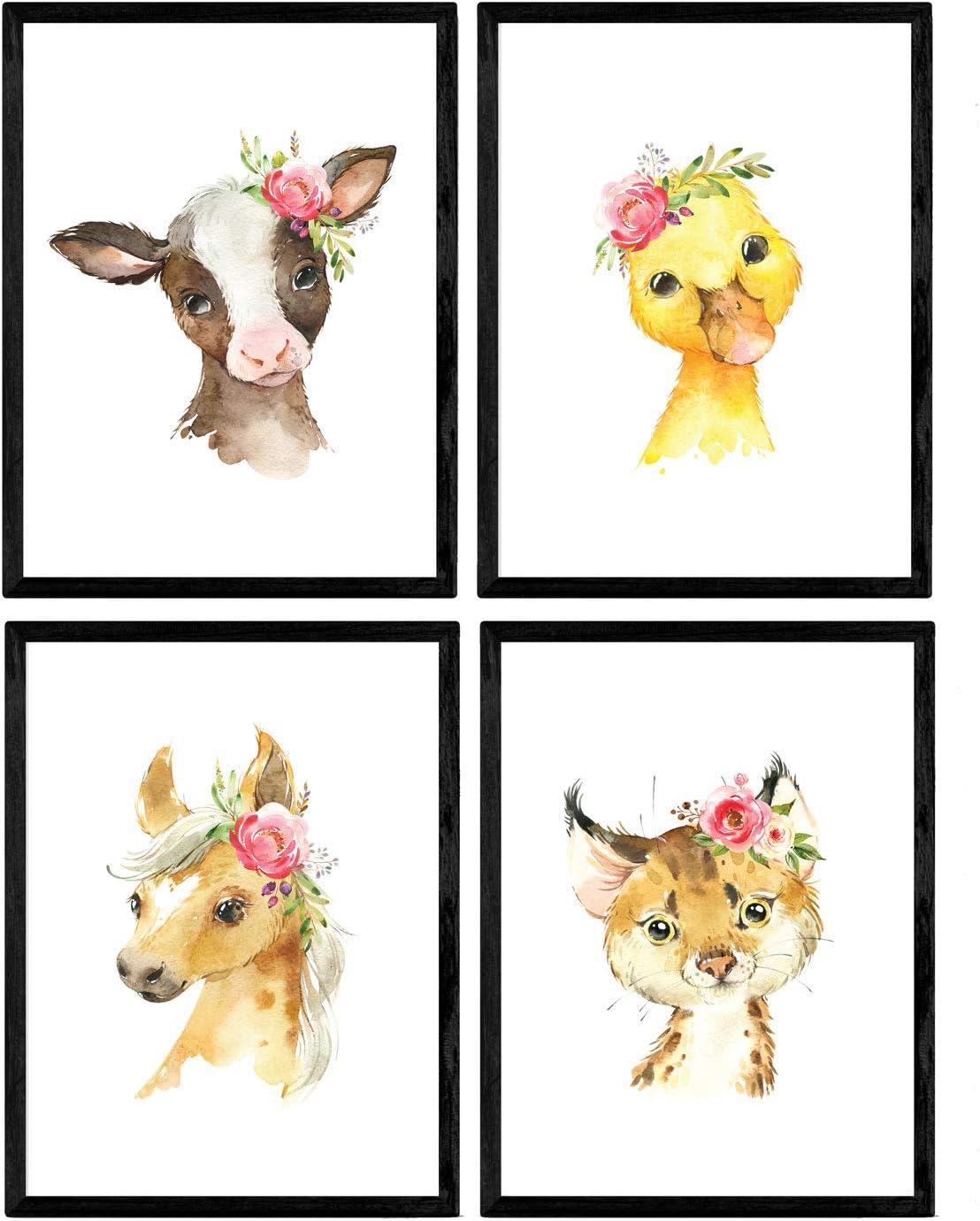 Pack de cuatro láminas con ilustraciones de animales. Posters con imágenes infantiles de animales. Leopardo pato vaca y caballo. Tamaño A4 sin marco