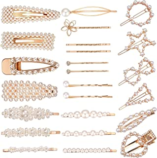 SIQUK 24 Pcs Hair Clips Pearls Barrettes Gold Hair Pins Bridal Hair Clips Artificial Pearl Clips for Women and Girls Party Wedding Daily Hair Decoration