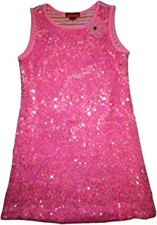 Girls Sun Circus Sequin Stripe Sleeveless Dress, Pink, Size 6