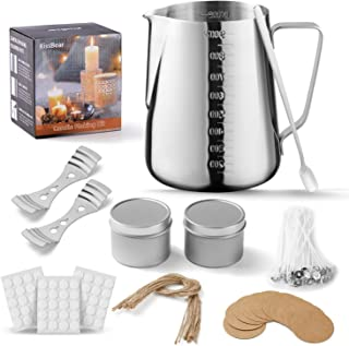 Xinzistar 120 Pcs Candle Wicks Candle Making Kit with Double Spouts Pot Natural Cotton Candle Wicks 120 Pcs Wick Stickers Candle Wicks Holders Create Scented Candle for DIY Art Craft Tools