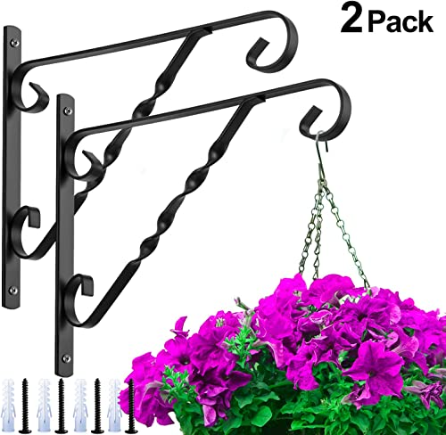 Amagabeli 2 Pack Hanging Plants Bracket 12'' Hanger Wall Planter Hooks Flower Pot Bird Feeder Wind Chimes Lantern Pat...