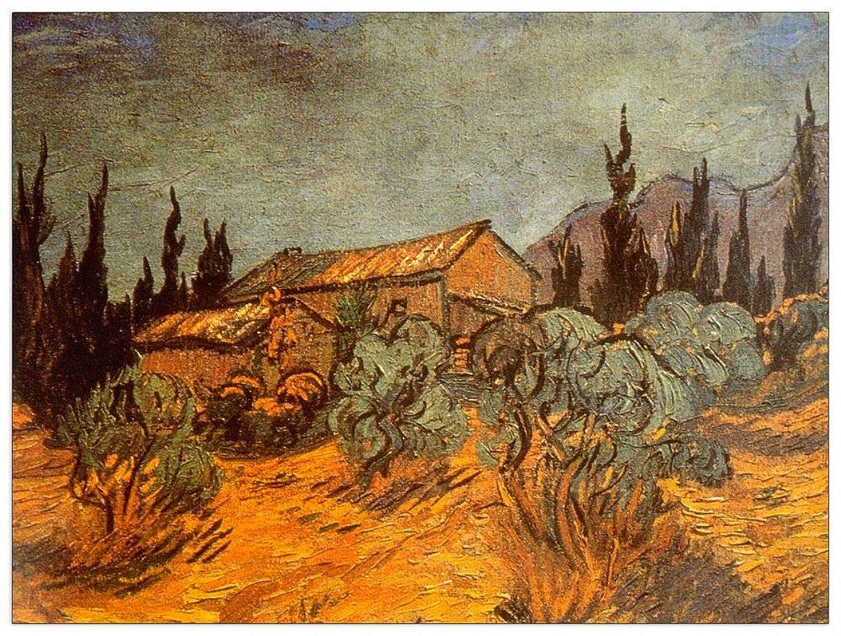 ArtPlaza TW91008 Van Gogh Vincent - Wooden Sheds Decorative Panel 35.5x27.5 Inch Multicolored