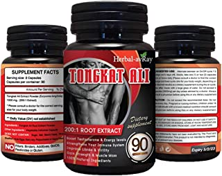 Longjack Tongkat Ali for Men – Natural Testosterone Booster for Men Muscle Growth – 200 to 1 Extract, 90 Eurycoma Longifol...