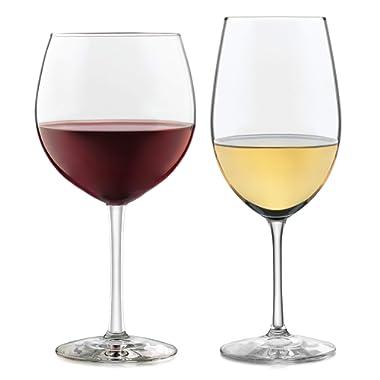 Libbey Vineyard Reserve 12-Piece Wine Glass Party Set for Chardonnay and Merlot/Bordeaux