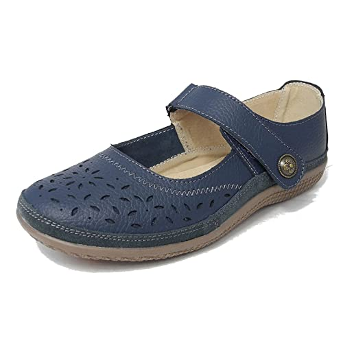 3f103672ca9 Womens Ladies X Wide EEE Fit Leather Shoes Touch Fastening Black White Navy  Bronze Size 3