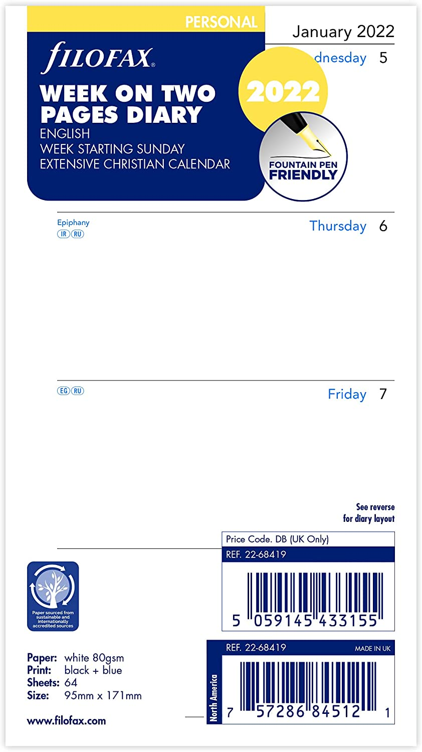 Filofax Personal Week on Two Pages Start 2022 New Free Shipping Dia Sunday New color English