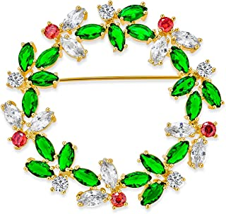 Colorful Marquise Cubic Zirconia CZ Green Red White Round Fashion Christmas Holiday Wreath Brooch Pin for Women 14K Gold P...
