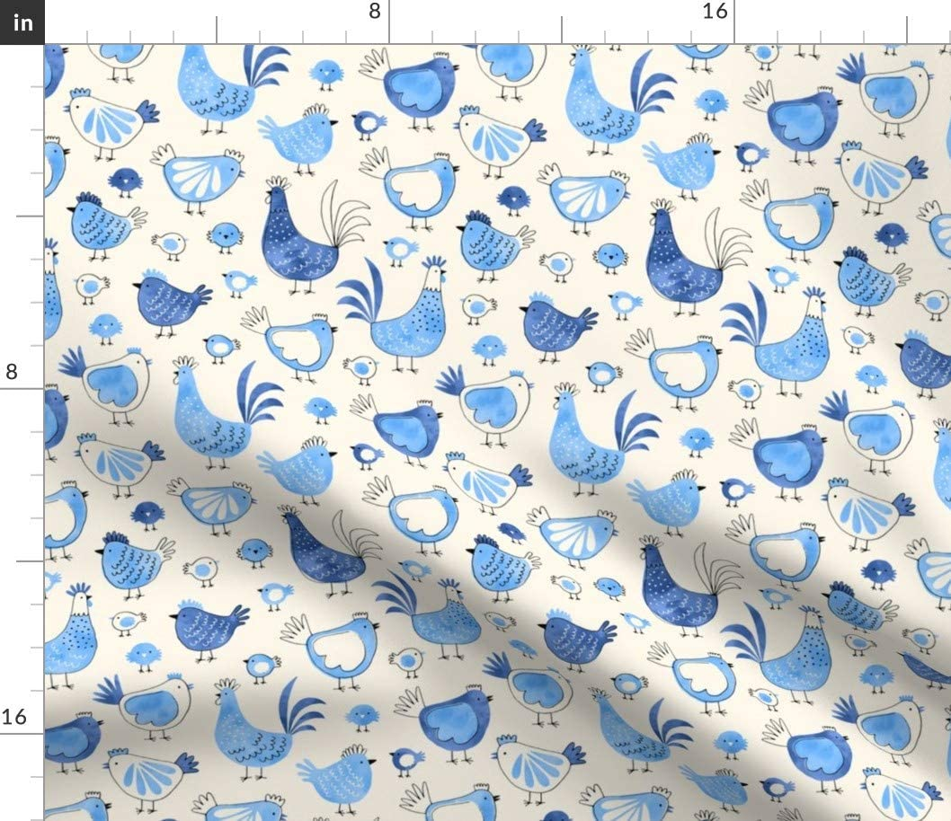 Spoonflower Fabric Mesa Mall - Chicken Rooster Watercolor Blue Time sale Farm Modern