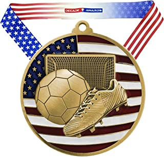Decade Awards Soccer Patriotic Engraved Medal - 2.75 Inch Wide Futbol Medallion with Stars and Stripes American Flag V Neck Ribbon - Customize Now