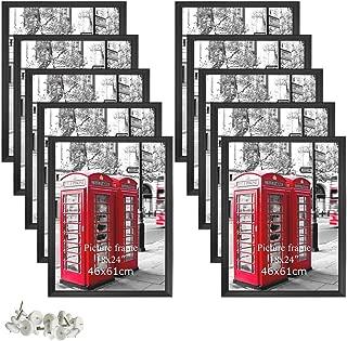 Giftgarden 18 x 24 Large Picture Frame Set of 10, Black Wall Poster Frames Portrait Landscape Art