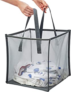 Składana torba na bieliznę z uchwytem, kosz do przechowywania siatki do pralni, sytym lub przechowywanie podróży