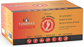 Tundras Toe Warmers, 40 Count - Air Activated Disposable Safe Heating Pads for Shoes, Boots – Odorless and Comfortable for Outdoor Work, Sports and Activities – Up to 6 Hours of Heat