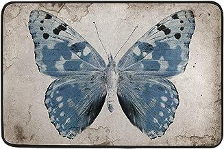 Non Slip Doormats Washable Door Mat,Beautiful Female Eye with Butterflies Indoor Outdoor Entrance Doormat Bathroom Floor M...