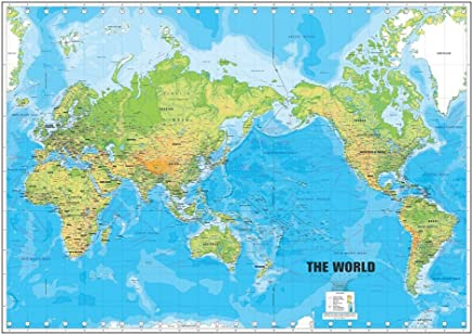 Walls and Murals Vinyl Non-Tearable, Washable, Long Life, Peel and Stick Major Cities, Water Bodies World Map Wallpaper, 66x99cm (Blue)