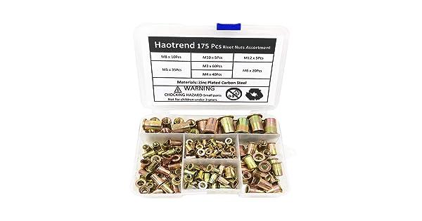 Haotrend Rivet Nut 175PCS Metric Rivet Nut Kit Carbon Steel Flat Head Threaded Insert Nut Assorted in M3 M4 M5 M6 M8 M10 M12 Knurled Body Rivet Nut Kit 1