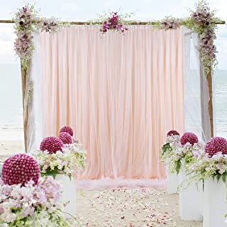 Tulle-Backdrop-Curtains-Peach for Parties Weddings Baby Shower Birthday Photography Engagement 5ft x 7ft Drape Sheer Backdrop