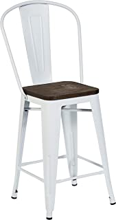 Pioneer Square Midvale 24-Inch Counter-Height Metal Stool with Back Rest, Set of 2, Winter White