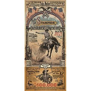Cody Wyoming Buffalo Bill Stampede Rodeo Western Poster by Bob Coronato