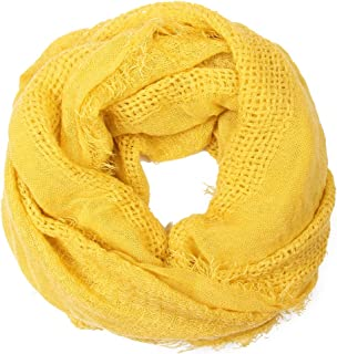 RIAH FASHION Lightweight Soft Winter Infinity Fringe Colorful Scarf - Solid Color Circle Loop Waffle Scarves