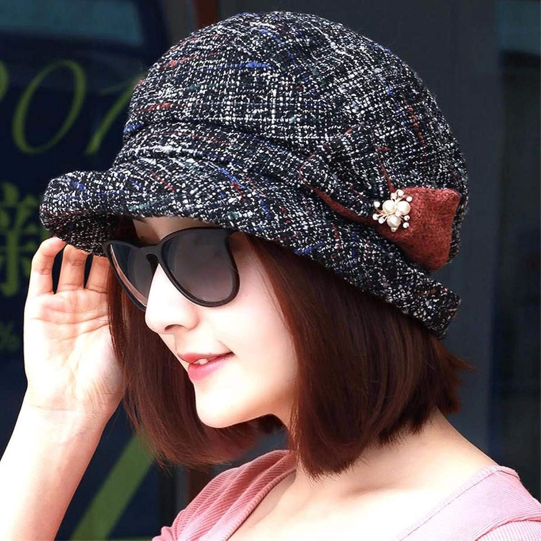 Beach Hat Autumn Winter Fashion flip Side Cap Older Video Thin Basin Cap Mother Cap Warm Cap Fisherman hat Painter hat Summer Sun Hat (color   Black)