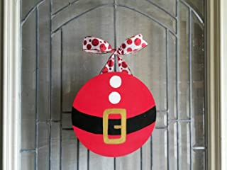 Santa Belly Christmas Door or Shelf Decoration- door hanger- Santa belt- circle wood sign- wreath