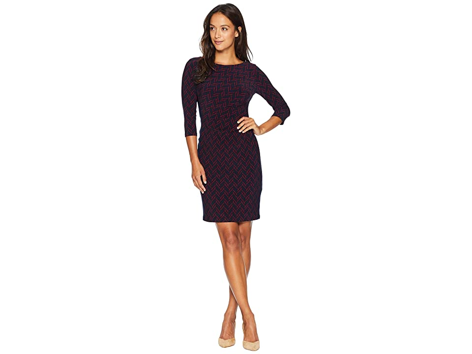 LAUREN Ralph Lauren Petite Boule Abstract Drewly 3/4 Sleeve Day Dress (Lighthouse Navy/Vibrant Garnet) Women