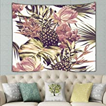 Watercolor Tropical Flowers Palm Leaves Pineapples Pineapple Nature Pineapple Nature Tapestry Wall Hanging, Wall Tapestry ...