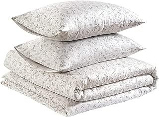 AmazonBasics Organic Sateen Cotton Duvet Comforter Cover Set, Full / Queen, Watercolor Vine