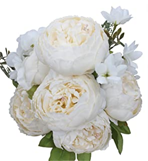 Duovlo Artificial Peony Silk Flowers Fake Flowers Vintage Wedding Home Decoration,Pack of 1 (Spring Milk Wh...