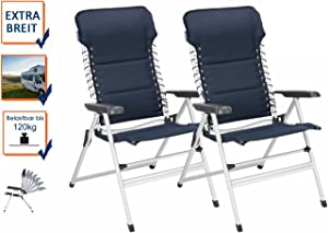 Juego de 2Estable XXL silla de camping acolchado–plegable y fácil–Sillón de relax con comodidad