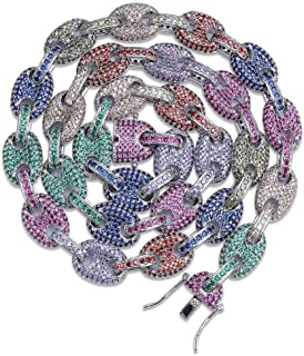 Moca Gioielli Collana Hip Hop Diamanti da Laboratorio Arcobaleno ghiacciato Bling CZ Mariner Link Collana Colorata, Placca...