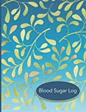 Blood Sugar Log: 56 Weekly Logs to Track Daily Glucose Readings | Simple Layout | Blue Green Leaf Design | BONUS Coloring Pages!