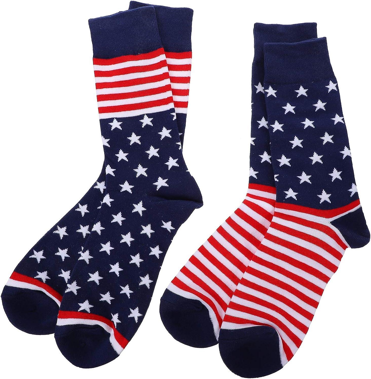SOIMISS 2 Pairs American Flag Fashion online shop Austin Mall Cotton Cre Socks Men