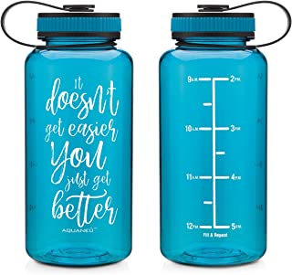 AQUANEÜ 34oz Inspirational & Motivational Fitness Workout Sports Water Bottle with Time Marker | Measurements | Goal Marked Times for Measuring Your H2O Intake, BPA Free Non-Toxic Tritan 34oz