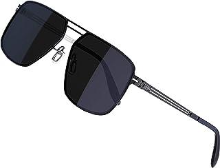 ATTCL Polarized Sunglasses for Men - UV400 Protection Lightweight Stainless Steel Rectangular Frame