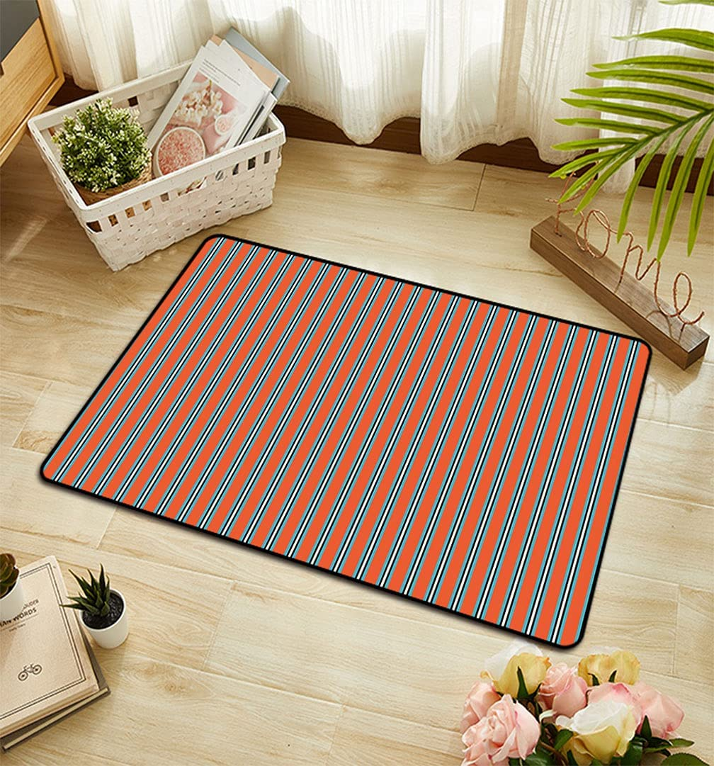 Geometric Rectangular Online limited product Doormat Vertical Toned Stripes with Warm Cheap sale